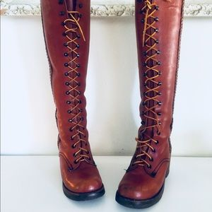 Vintage Oxblood Leather Lace Up Campus Boots 6